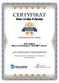Certyfikat Biuro rachunkowe TAX NET Jacek Adamczak