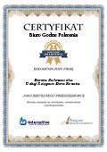 Certyfikat Usługi Księgowe Dora Renata Dorota Zakrzewska
